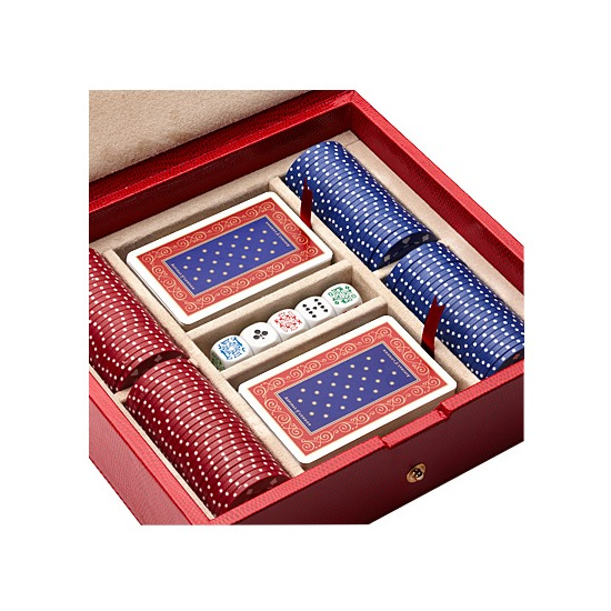 100 Chip Leather Poker Set in Berry Lizard from Aspinal of London