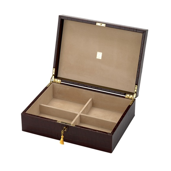 Grand Luxe Jewellery Case in Deep Shine Amazon Brown Croc & Stone Suede from Aspinal of London