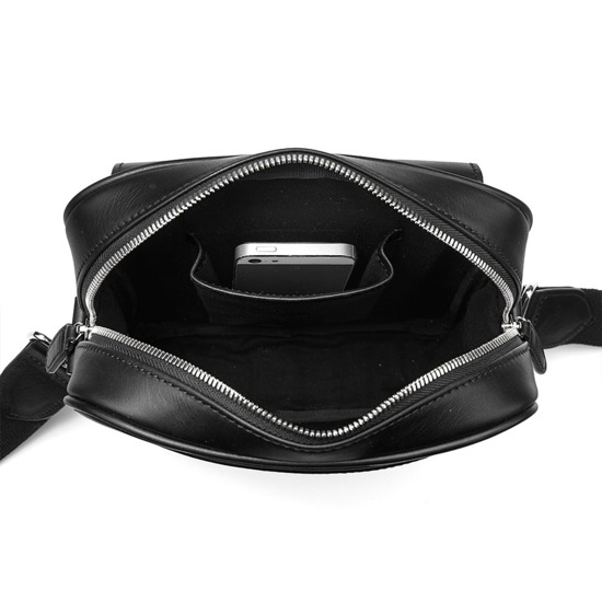 Small Harrison Messenger Bag in Smooth Black from Aspinal of London