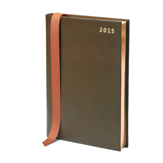 A5 Day per Page Leather Diary in Smooth Moss Green from Aspinal of London