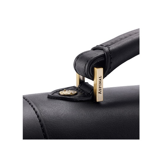 Harrison Briefcase in Black Hide & Stone Suede from Aspinal of London