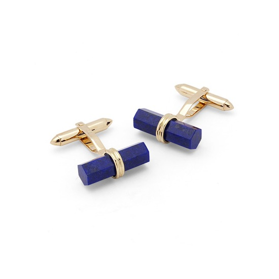 Angled Lapis Lazulite Barrel Cufflinks in Yellow Gold from Aspinal of London