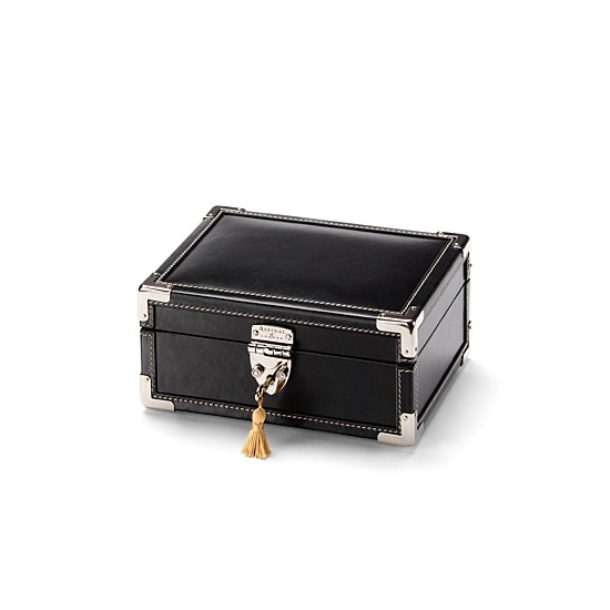 Small Leather Treasure Box in Smooth Black & Stone Suede from Aspinal of London