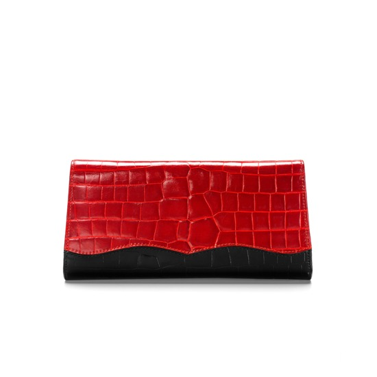 Eaton Clutch with Chain in Red & Black Croc with Gold Snake Leather from Aspinal of London