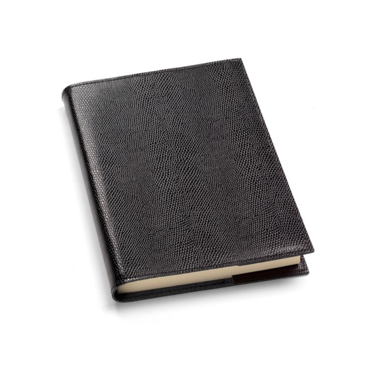 A5 Refillable Leather Journal in Black Lizard from Aspinal of London