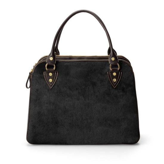 Buffalo Cabin Bag in Black Calfskin with Black Haircalf from Aspinal of London