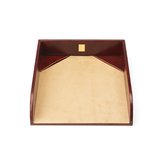 Chairman's Desk Set in Smooth Cognac & Stone Suede from Aspinal of London