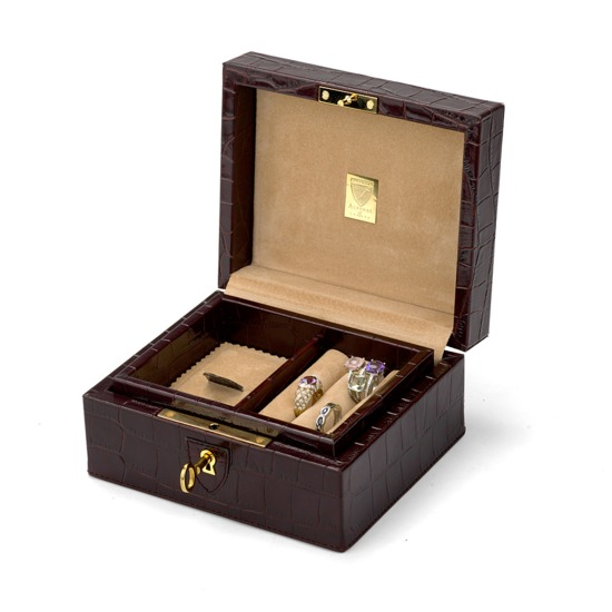 Bijou Jewellery Box in Deep Shine Amazon Brown Croc & Stone Suede from Aspinal of London