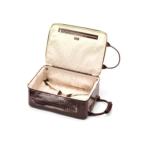 Candy Case Collection in Deep Shine Amazon Brown Croc from Aspinal of London