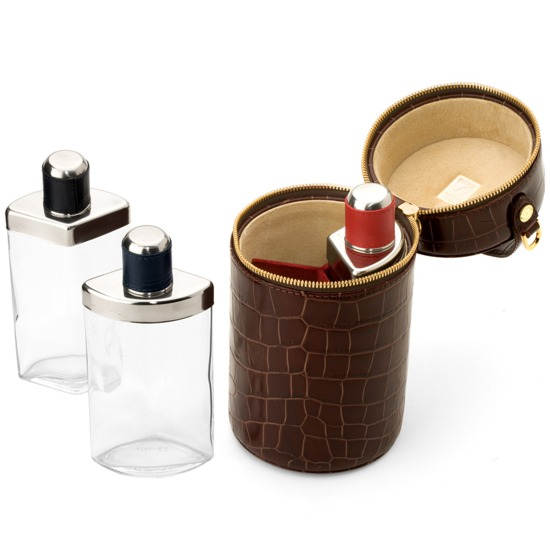 Triple Decanter in Amazon Brown Croc & Stone Suede from Aspinal of London