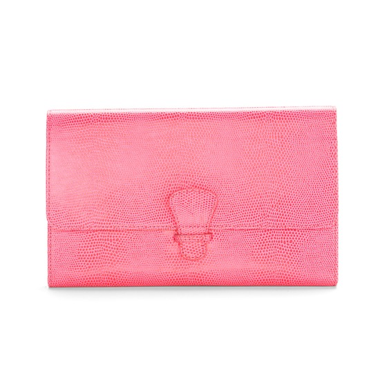 Classic Travel Collection in Pink Lizard & Cream Suede from Aspinal of London