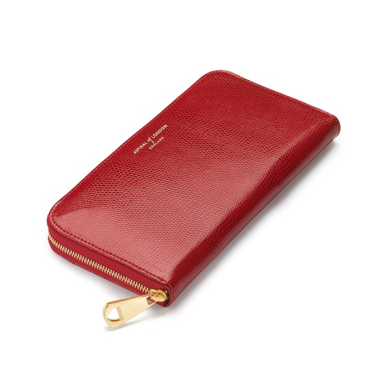 Continental Clutch Zip Wallet in Berry Lizard from Aspinal of London