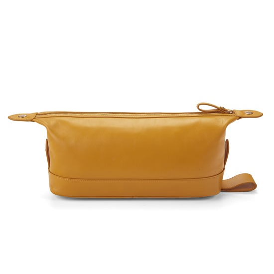 Men's Leather Wash Bag in Smooth Mustard from Aspinal of London