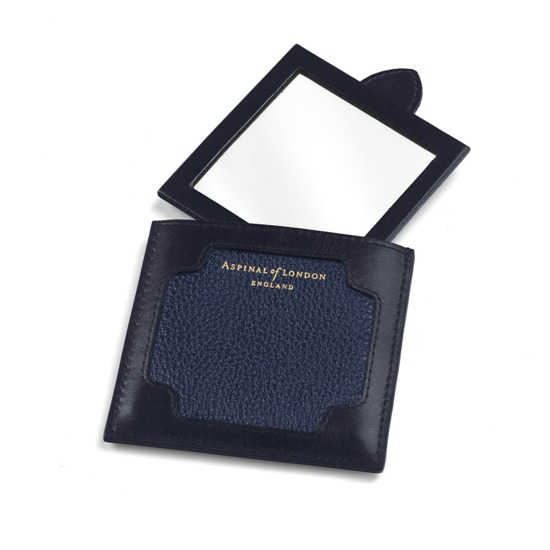 Marylebone Compact Mirror in Navy Pebble from Aspinal of London
