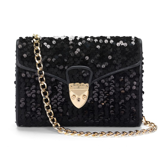 Midnight in Manhattan Clutch in Black Sequins from Aspinal of London