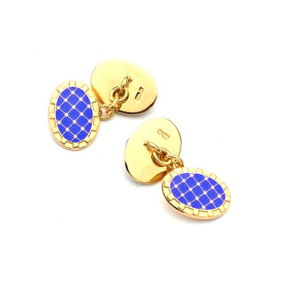 22ct Gold Plated & Enamel Constellation Cufflinks in Blue from Aspinal of London