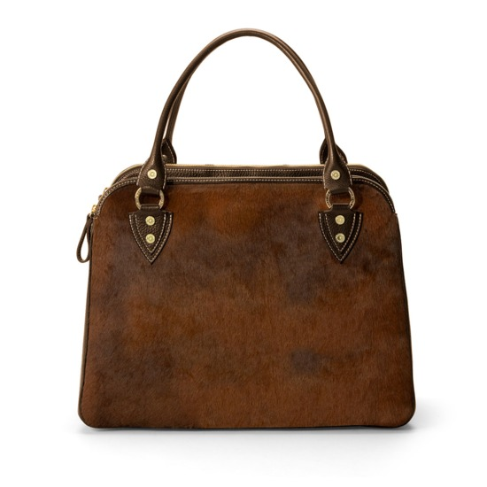 Buffalo Cabin Bag in Brown Calfskin with Brown Haircalf from Aspinal of London