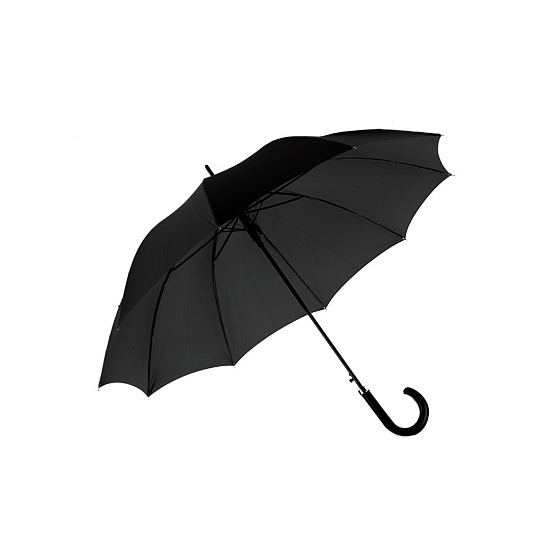 Gents Automatic Umbrella in Black with Matt Hardwood Handle from Aspinal of London