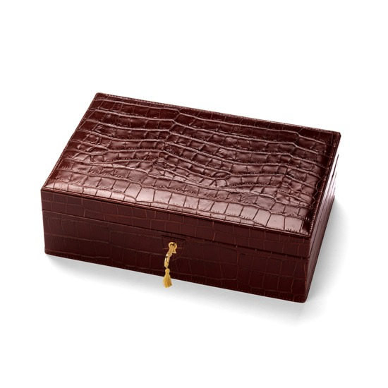 Savoy Jewellery Case in Deep Shine Amazon Brown Croc & Stone Suede from Aspinal of London