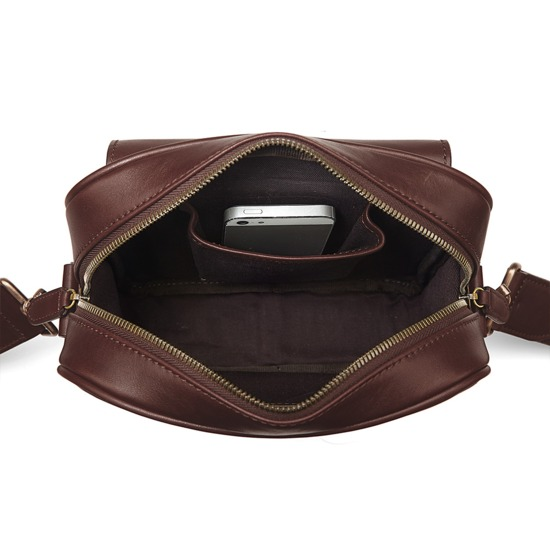 Small Harrison Messenger Bag in Smooth Chocolate from Aspinal of London