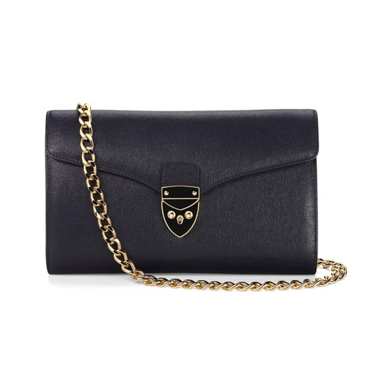 Manhattan Clutch in Navy Saffiano from Aspinal of London