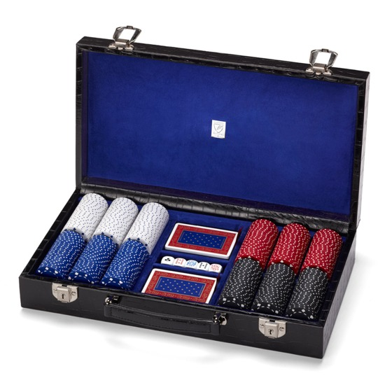 300 Chip Leather Poker Set in Deep Shine Black Croc & Cobalt Blue Suede from Aspinal of London