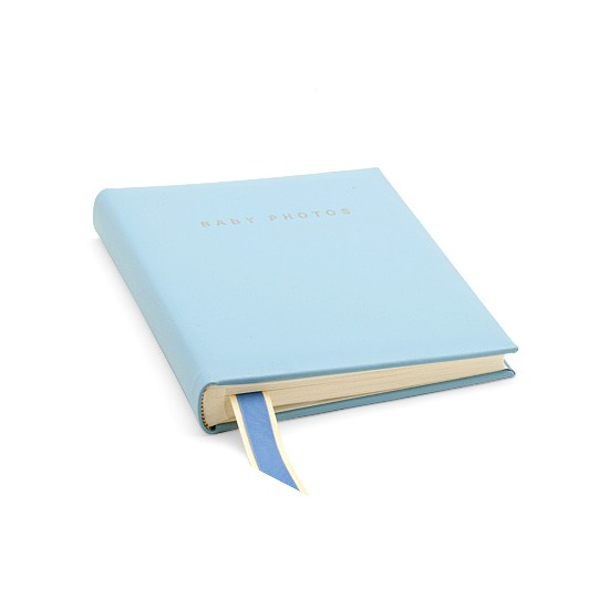 Deluxe Baby Record Photo Album in Pastel Blue from Aspinal of London