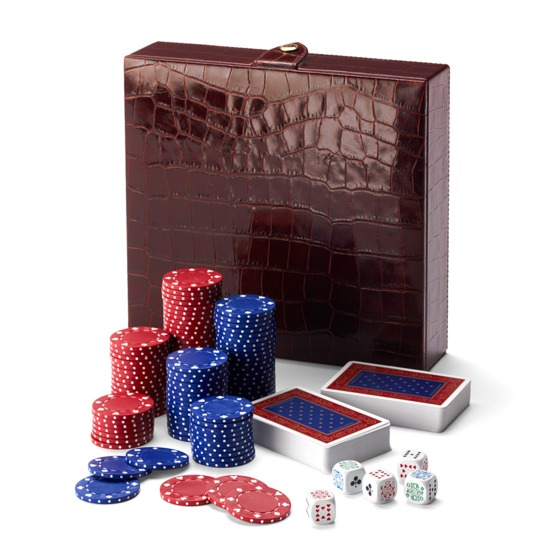 100 Chip Leather Poker Set in Deep Shine Amazon Brown Croc & Cream Suede from Aspinal of London
