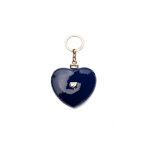 Heart Mirror Key Ring in Navy Patent Leather from Aspinal of London