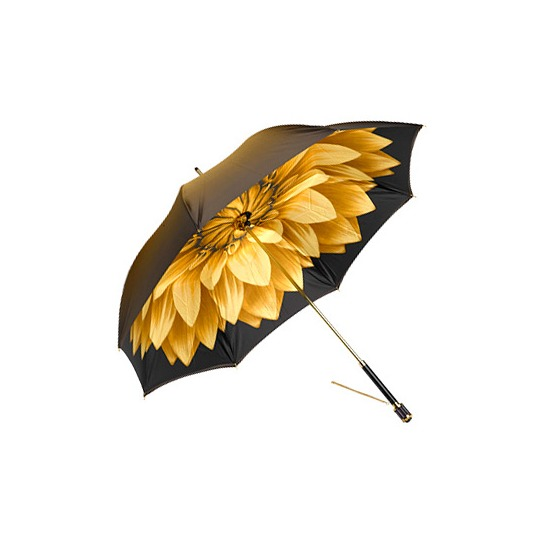 Ladies Umbrella in Gold with Gold Flower from Aspinal of London