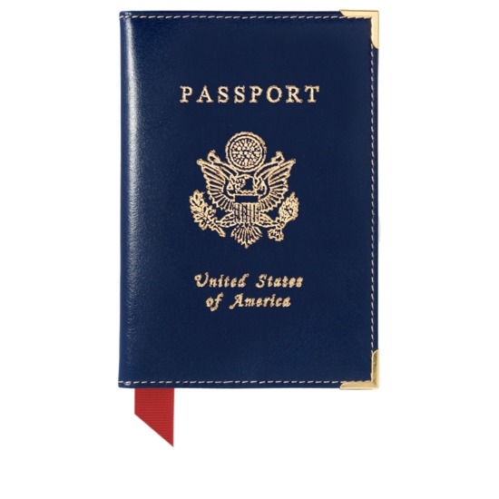 USA Passport Cover in Smooth Sapphire Blue & Ivory from Aspinal of London