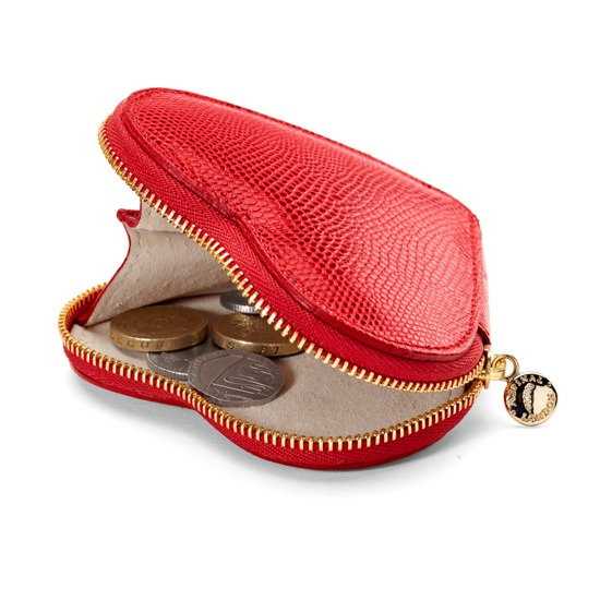 Heart Coin Purse in Berry Lizard & Cream Suede from Aspinal of London