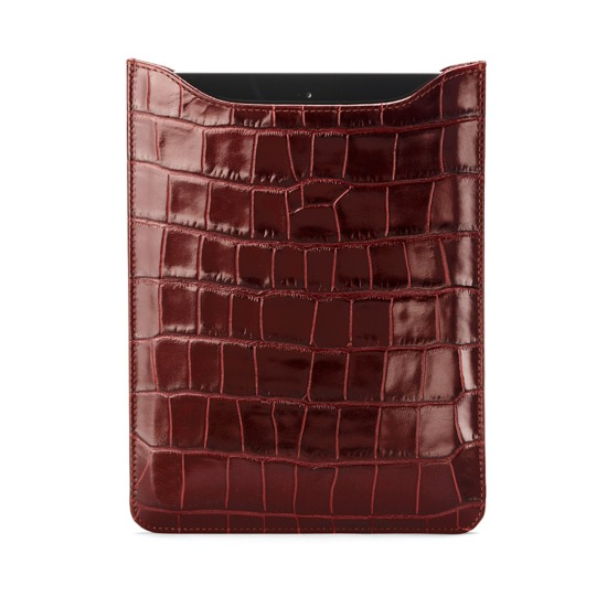 iPad Mini Sleeve in Deep Shine Amazon Brown Croc & Espresso Suede from Aspinal of London