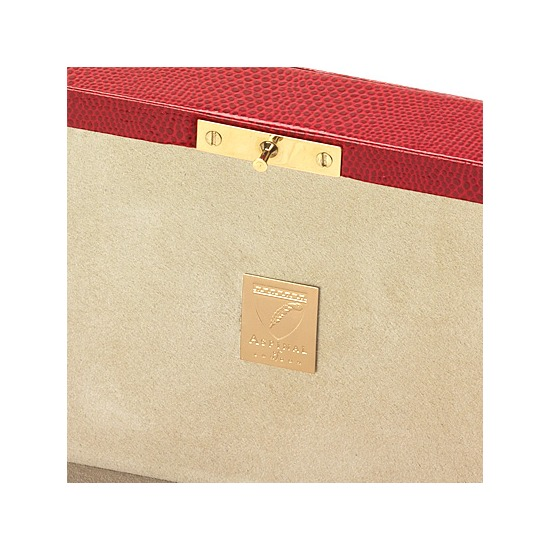Bijou Jewellery Box in Red Lizard & Cream Suede from Aspinal of London