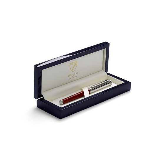 Sterling Silver & Leather Rollerball Pen in Red Lizard from Aspinal of London