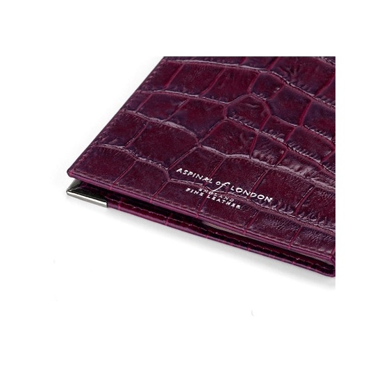 USA Passport Cover in Purple Croc from Aspinal of London