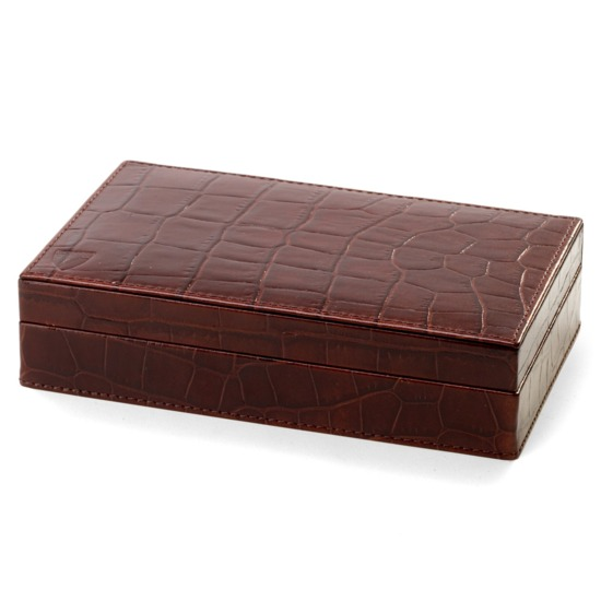Bridge Set in Leather Case in Deep Shine Amazon Brown Croc from Aspinal of London