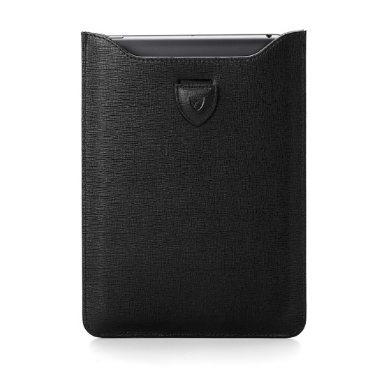 Leather iPad Air Sleeve in Black Saffiano & Black Suede from Aspinal of London