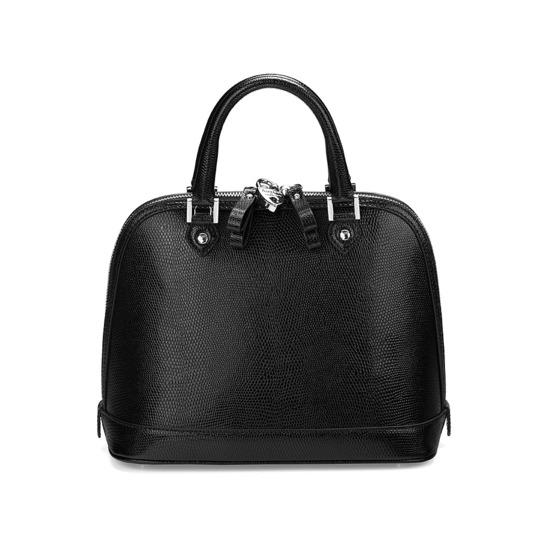 Mini Hepburn Bag in Jet Black Lizard from Aspinal of London