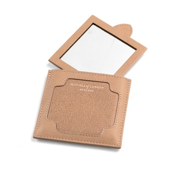 Marylebone Compact Mirror in Deer Saffiano from Aspinal of London