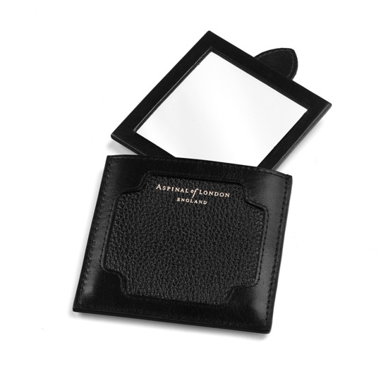 Marylebone Compact Mirror in Black Pebble from Aspinal of London