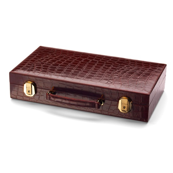 300 Chip Leather Poker Set in Deep Shine Amazon Brown Croc & Cream Suede from Aspinal of London