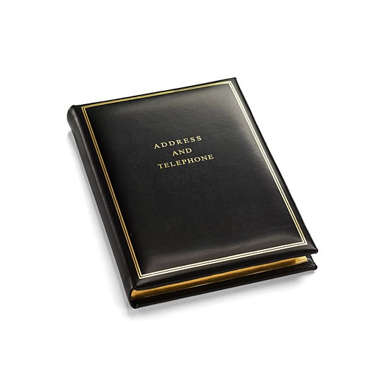 Classic Medium Address Book in Smooth Black from Aspinal of London