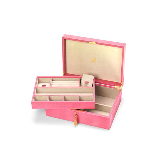 Grand Luxe Jewellery Case in Pink Lizard & Cream Suede from Aspinal of London