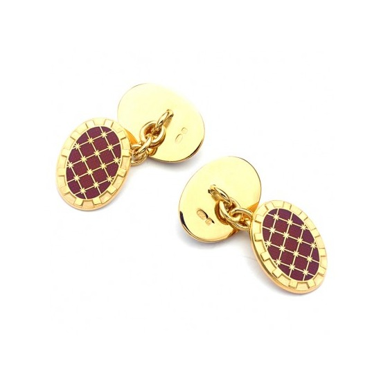22ct Gold Plated & Enamel Constellation Cufflinks in Red from Aspinal of London