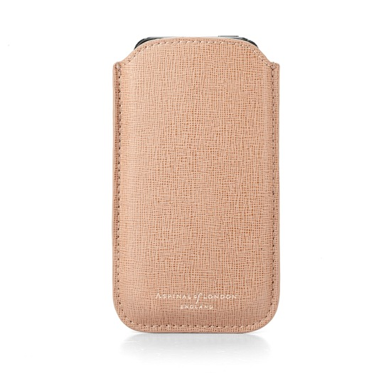Leather iPhone 5 Case in Deer Saffiano & Stone Suede from Aspinal of London