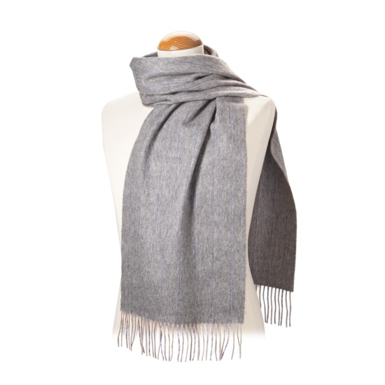 Pinstripe Merino Wool Blend Scarf in Light Grey from Aspinal of London