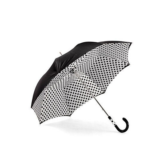 Ladies Polka Dot Umbrella in Black & White with Black Polka Dots from Aspinal of London