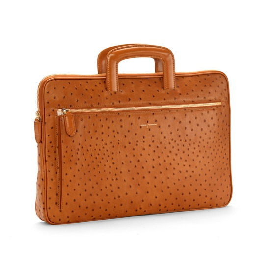Connaught Document Case in Tan Ostrich from Aspinal of London
