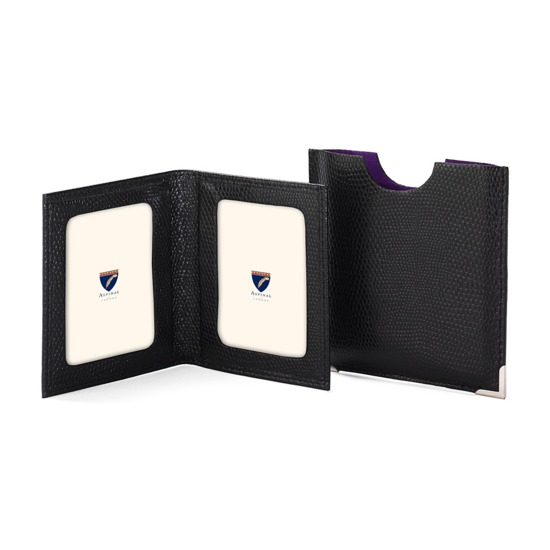 Travel Photo Frame in Black Lizard & Purple Suede from Aspinal of London